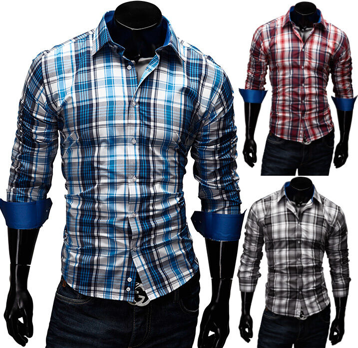 merish herren hemd gr e s xxl slim fit 5 farben kariert t shirt polo neu 39 ebay. Black Bedroom Furniture Sets. Home Design Ideas