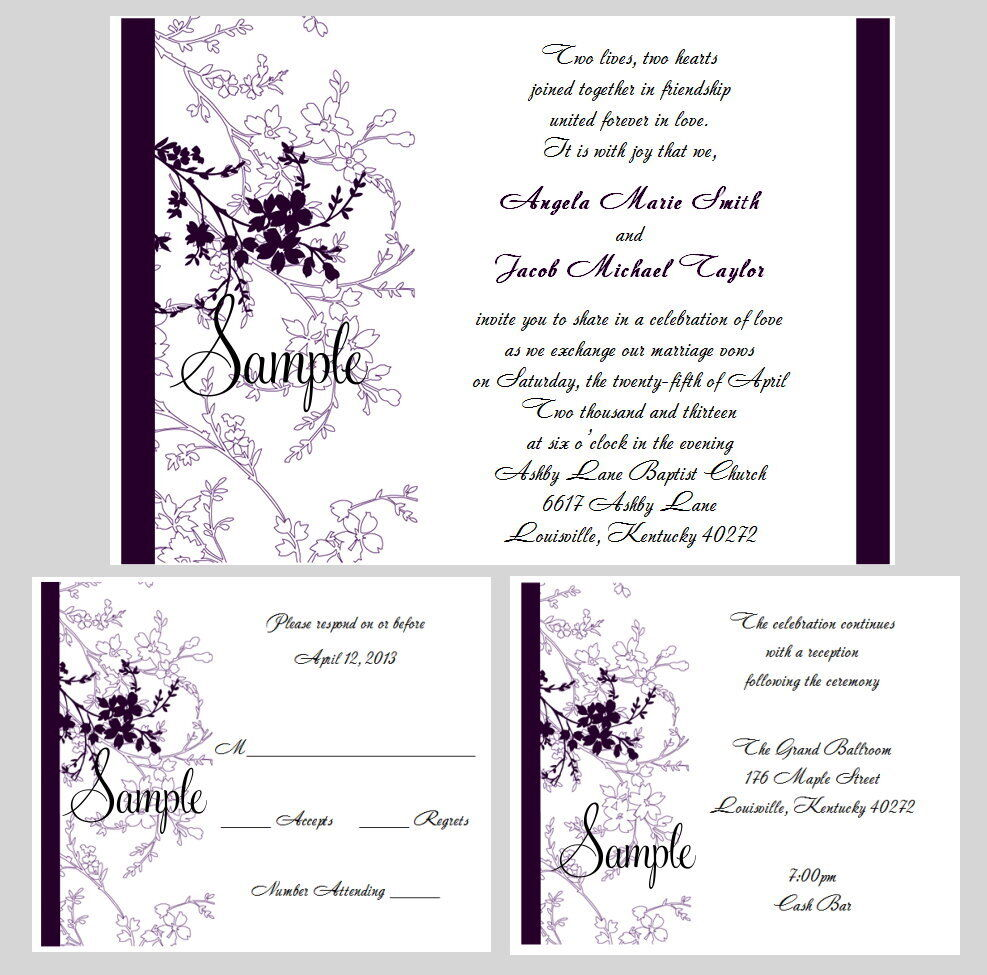 100 Personalized Purple Floral Wedding Invitations Set