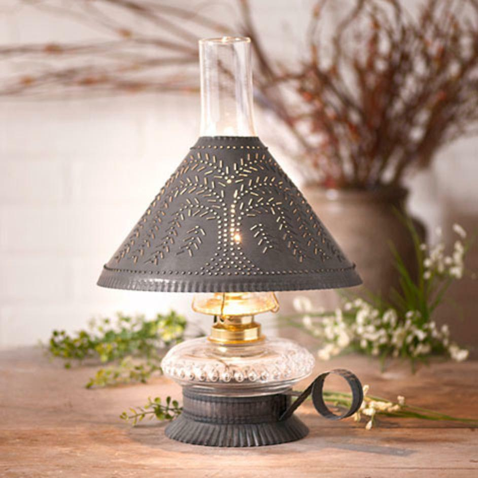 Country New Small Blacken TIN Table Lamp W/punched WILLOW