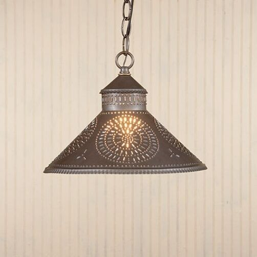 Primitive New KETTLE BLACK Punched Tin Shade Hanging