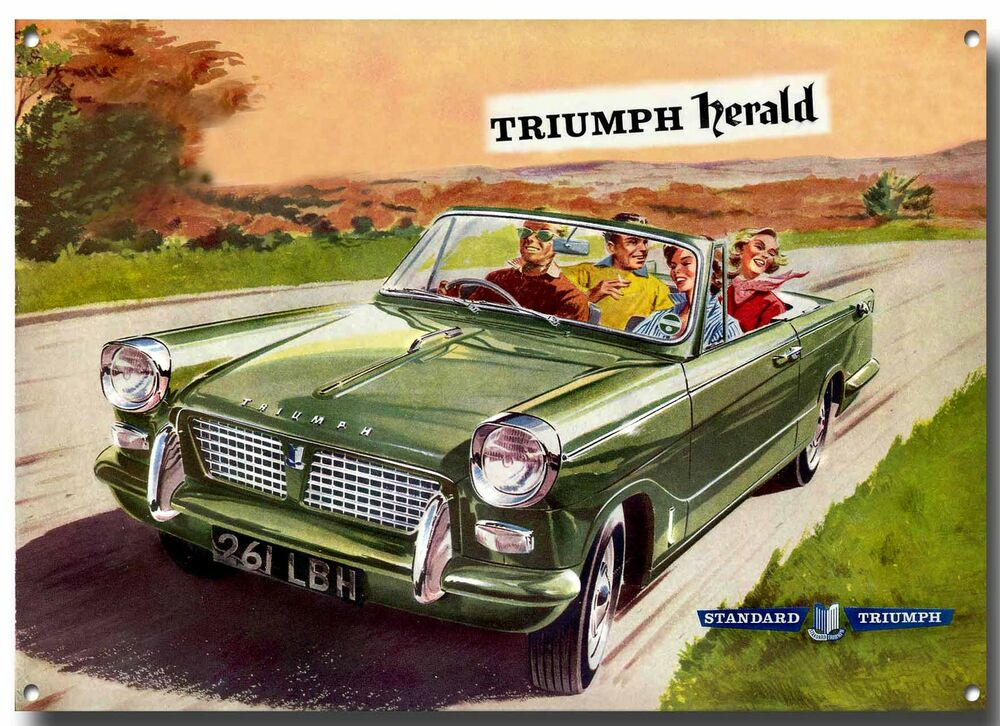 triumph herald advertising metal sign british classic cars. Black Bedroom Furniture Sets. Home Design Ideas