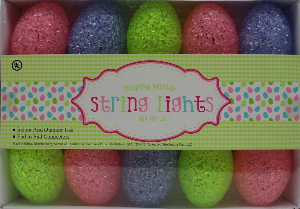 Outdoor Easter String Lights : Easter 10 Count Pastel Egg Shaped String Lights Indoor & Outdoor NIB eBay
