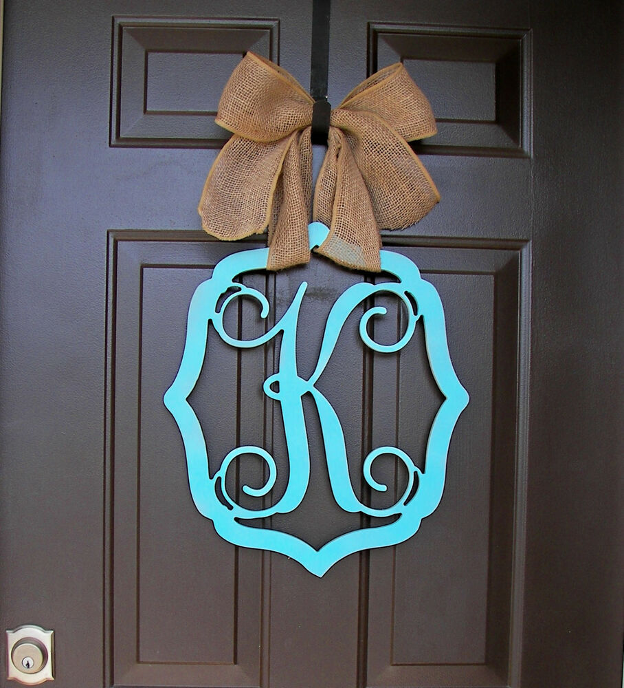 Monogram Front Door Decoration: Wooden MONOGRAM Door Hanger/wreath/Initial/vintage Frame