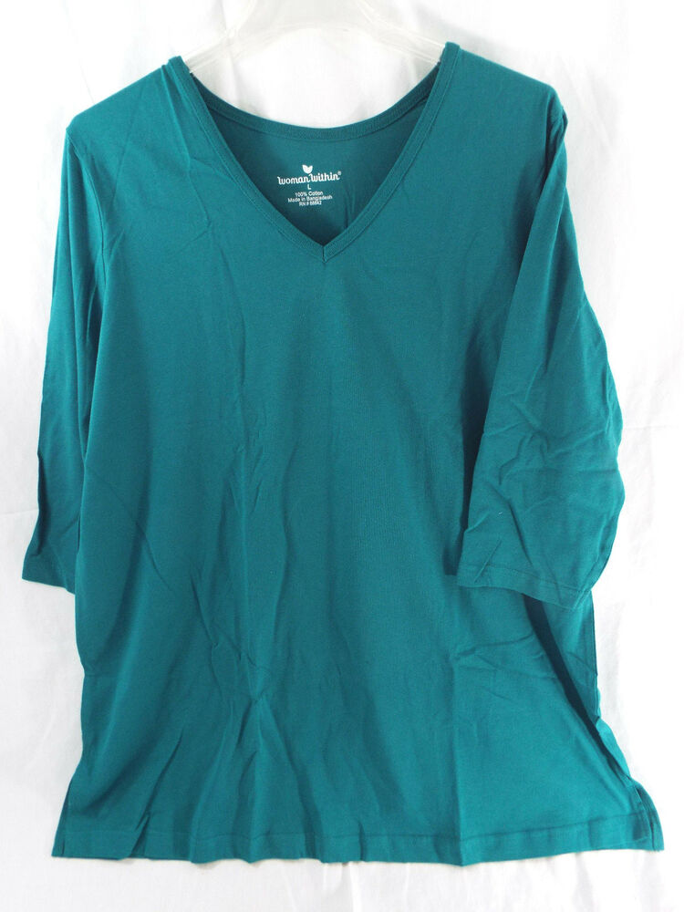 Women 39 s plus size v neck t shirt 3 4 sleeves in dark jade for 3 4 sleeve t shirts plus size