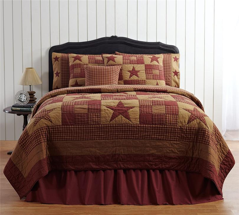 5pc Ninepatch Star Country Primitive Quilt 2 Shams 2