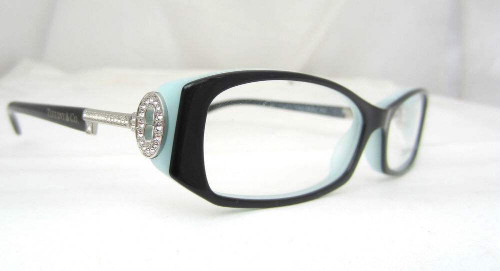 tiffany co eyeglasses glasses model tf 2047 b 8055 black aqua authentic key ebay