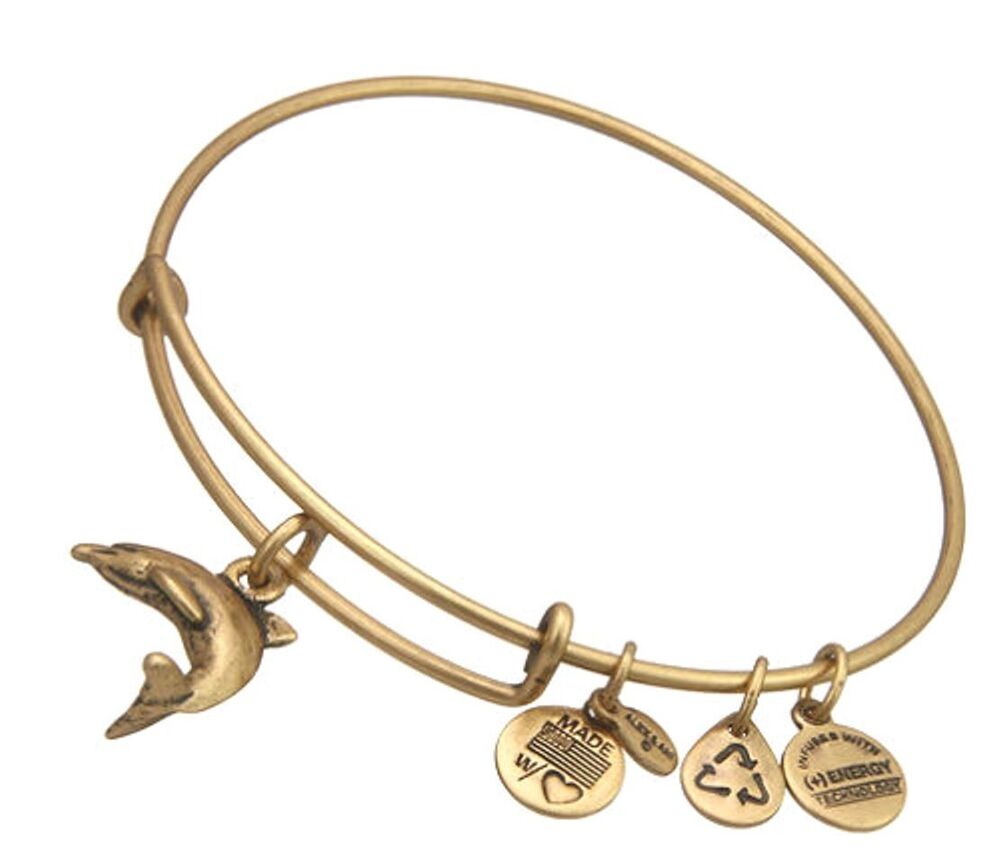 Alex And Ani DOLIPHIN CHARM BANGLE Bracelet Russian Gold
