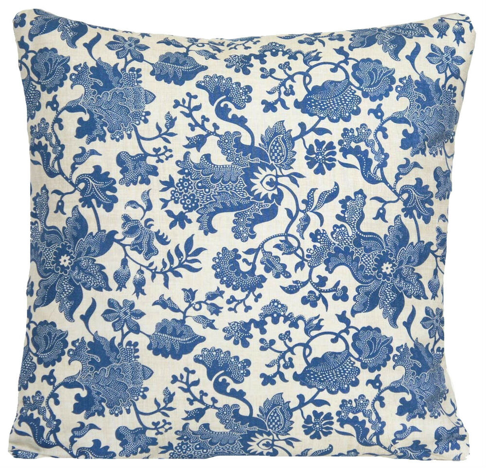 Throw Pillows Vintage Fabric : Blue Cushion Cover Vintage Throw Pillow Case Oatmeal Printed Cotton Fabric eBay