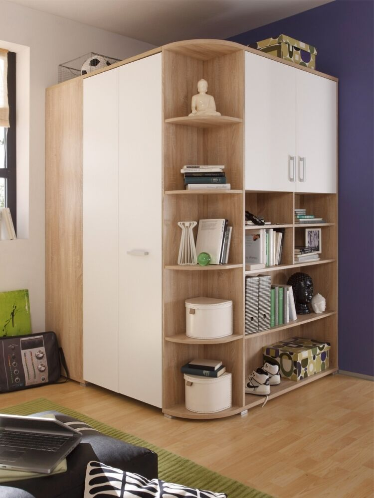 casper eckschrank begehbarer kleiderschrank schrank schrankraum eiche wei dekor ebay. Black Bedroom Furniture Sets. Home Design Ideas