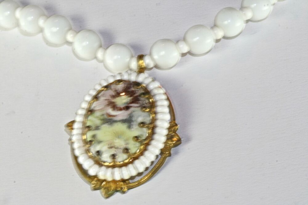 Vtg Miriam Haskell White Glass Bead Necklace Flower Ebay