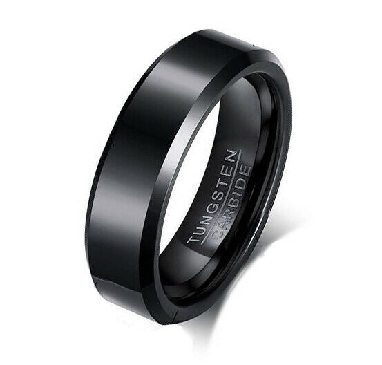 all black wedding rings gross black tungsten carbide mens or women unsex 6mm 1262