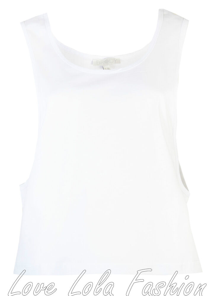 aaa8651b6ee41 Womens Vests Ladies Loose Fit Dance Gym Crop Vests Tops Brody   Co Cotton  White