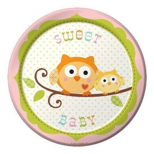 Owl Baby Shower Supplies: HAPPI TREE OWL SMALL Pink PAPER PLATES (8)