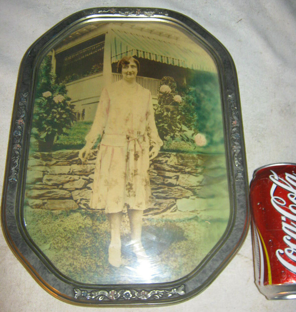 Antique Convex Glass Wood Art Deco Picture Photo Frame