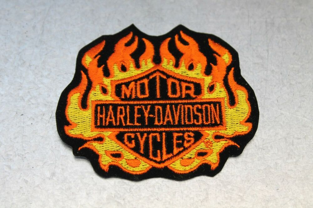 Details about Vintage Harley Davidson Orange & Yellow Flamed Bar and Shield  Patch 3