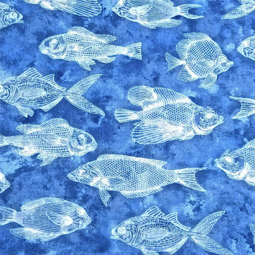 Cotton fabric per yard blue fish in a blue ocean by for Fish fabric by the yard