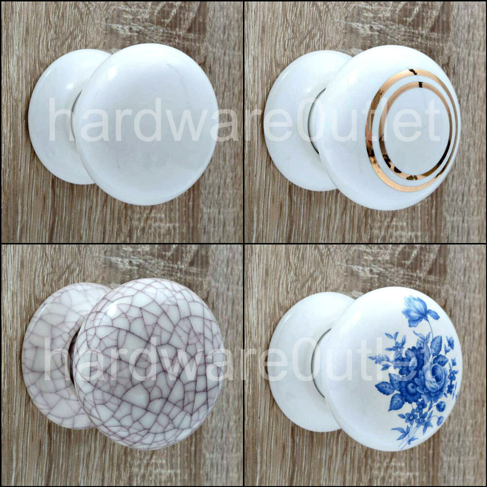 Ceramic Cottage Mortice Door Knobs Or Matching Finger Push