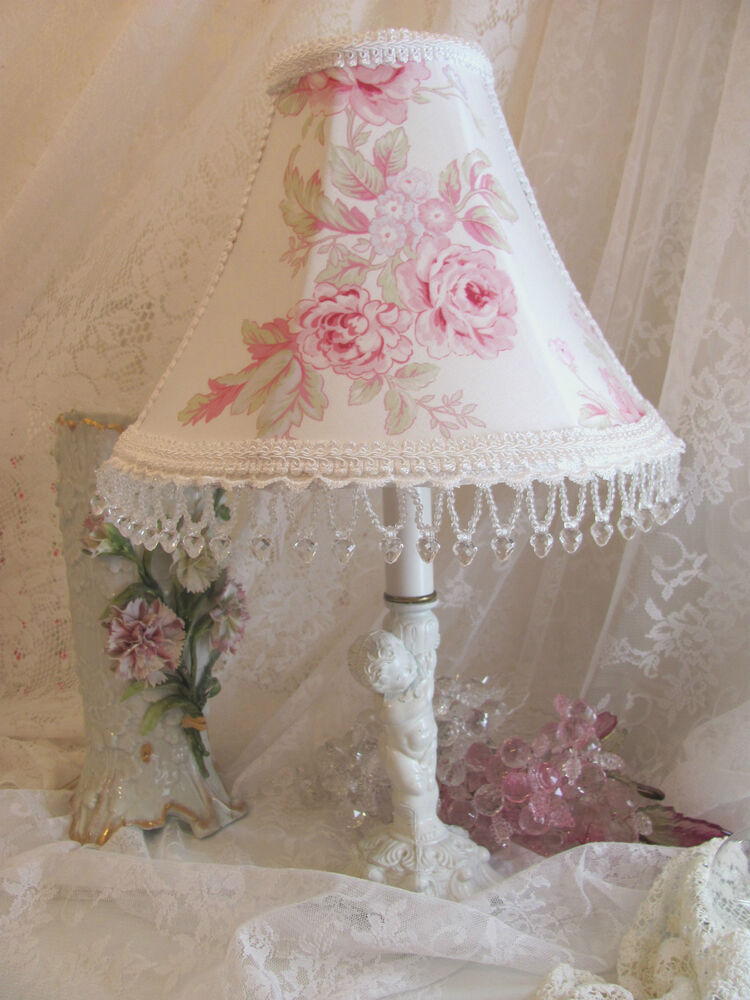 new 8 5 lamp shade shabby pink rambling rose simply chic beads lampshade 2 ava ebay. Black Bedroom Furniture Sets. Home Design Ideas