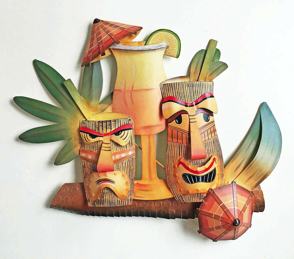 Wall art tiki bar wall sculpture metal wall decor for Tropical metal wall art