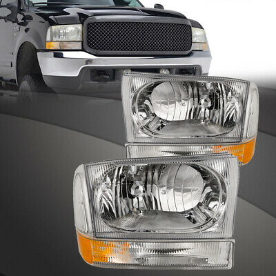 Headlights Chrome Set Fits 99-04 Ford F250 F350 F450 Superduty Excursion 4Pc