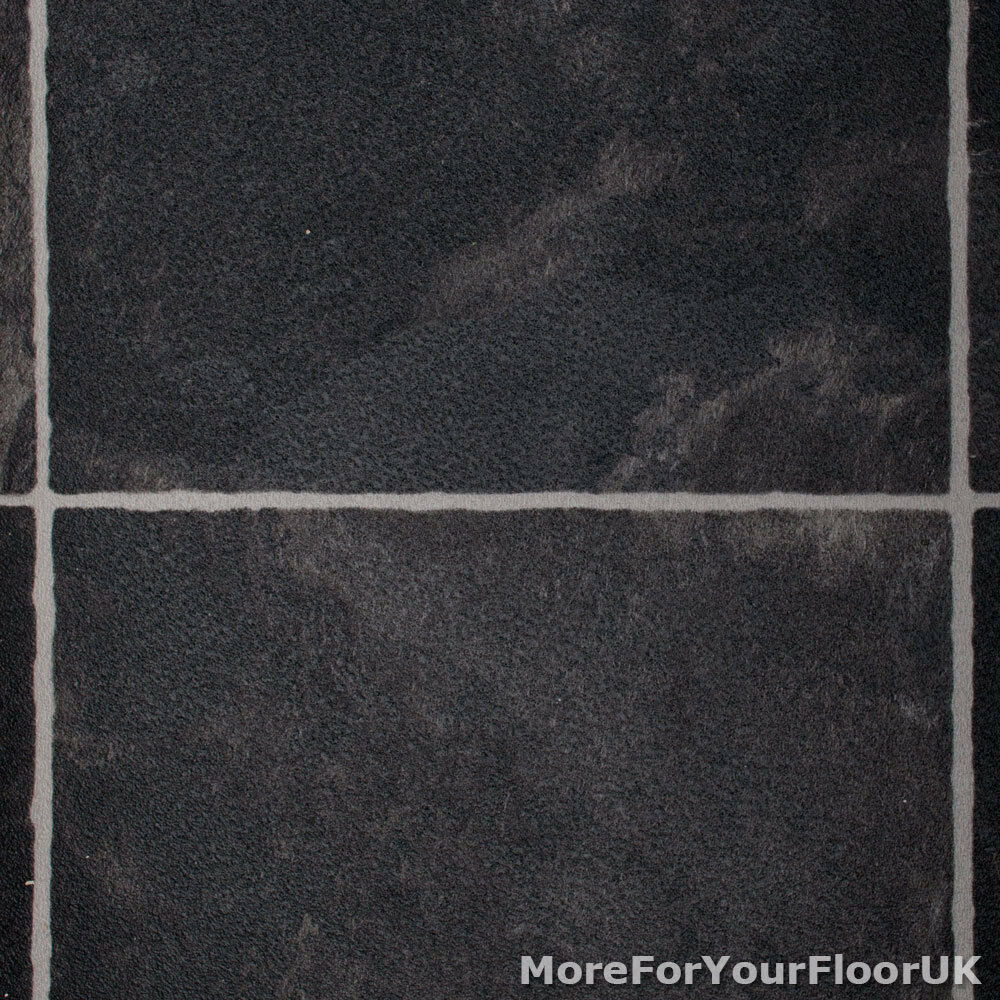 Black slate tiles vinyl flooring slip resistant lino 3m for Black vinyl floor tiles