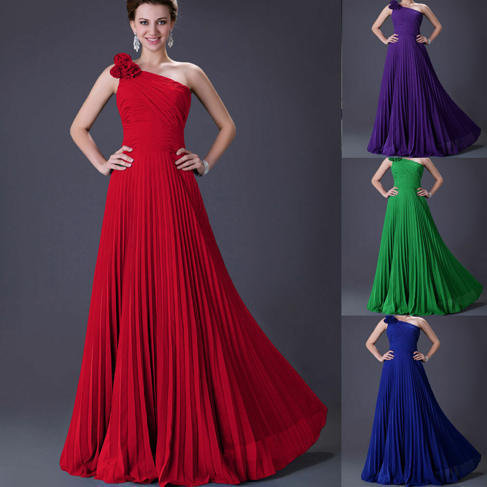 Long pleated chiffon prom bridal bridesmaid dress evening for Ebay wedding bridesmaid dresses