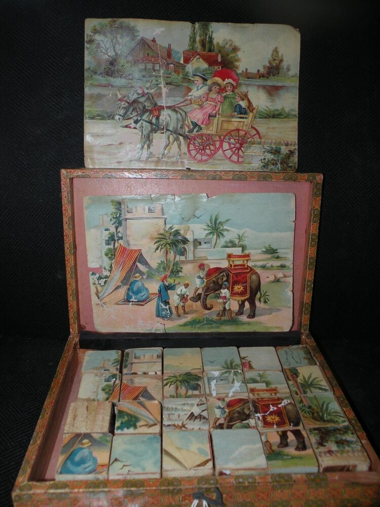 ANTIQUE GERMAN TOY WOOD PICTURE BLOCKS in box WITH ZEPPELIN | eBay
