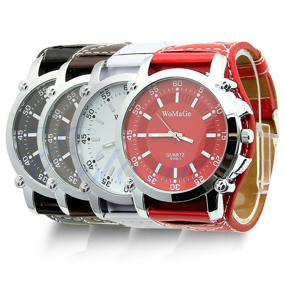 Fashion Leather Large Dial Mens Watch Analog Cool Sport ...  |Big Watches For Men