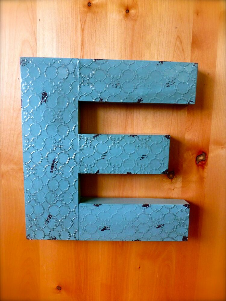 Vintage Letters Wall Decor : Industrial blue metal wall letter quot e tall rustic