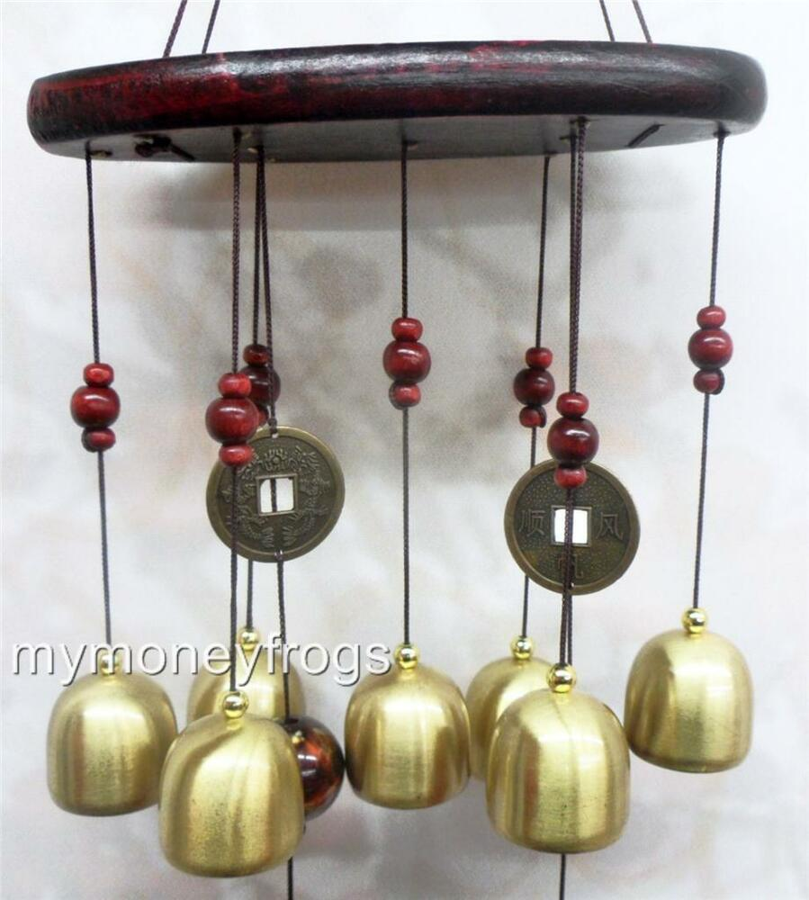feng shui chinese oriental lucky coin metal brass bell. Black Bedroom Furniture Sets. Home Design Ideas