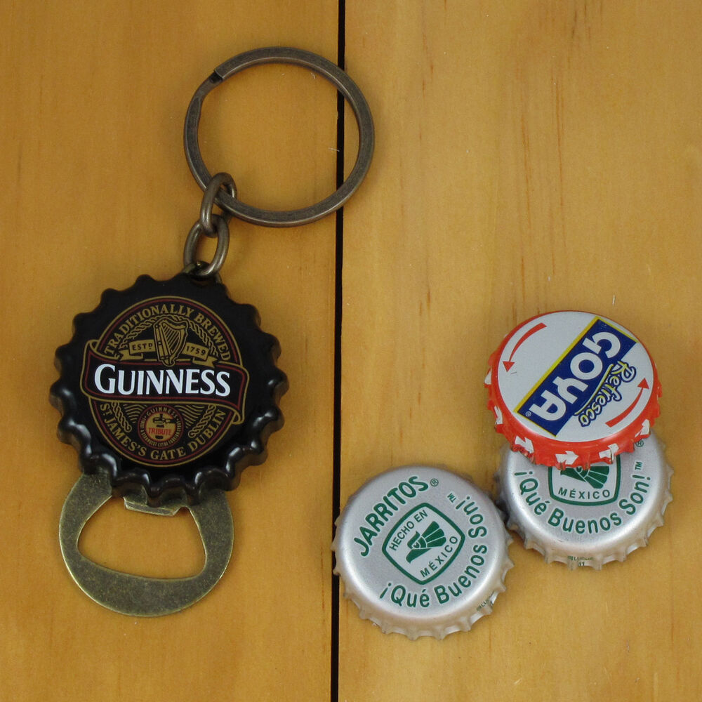 guinness flip out bottle opener keychain black bottle cap style new ebay. Black Bedroom Furniture Sets. Home Design Ideas