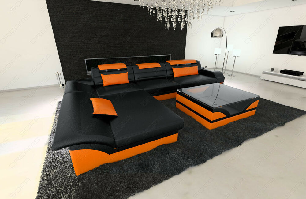 ledersofa monza l form designer ledercouch mit led beleuchtung ebay. Black Bedroom Furniture Sets. Home Design Ideas