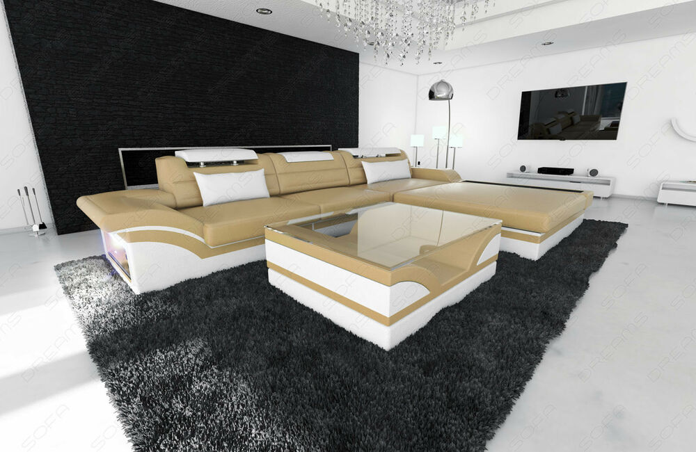 ledersofa parma l form designersofa mit rgb led beleuchtung ebay. Black Bedroom Furniture Sets. Home Design Ideas