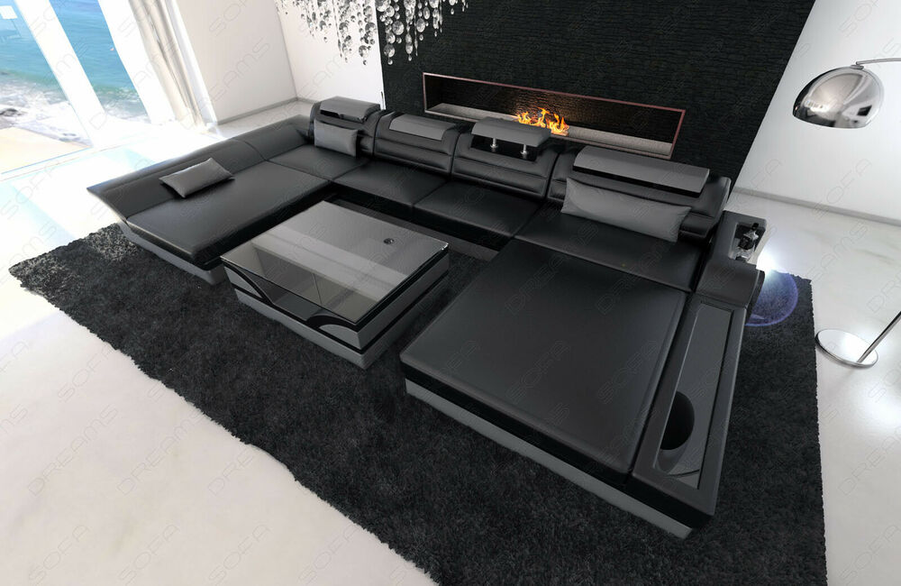 ecksofa leder wohnlandschaft monza u form schwarz grau led. Black Bedroom Furniture Sets. Home Design Ideas