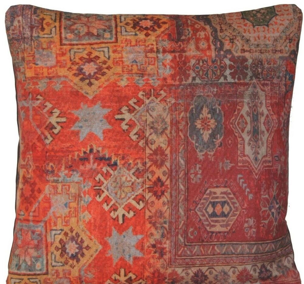 Red Rug Printed Cushion Cover Oriental Kilim Pillow Throw Case Cotton Rusty B eBay