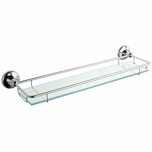 Bathroom Storage 420mm Glass Gallery Wall Shelf With Chrome Finish Inc Fittings Ebay