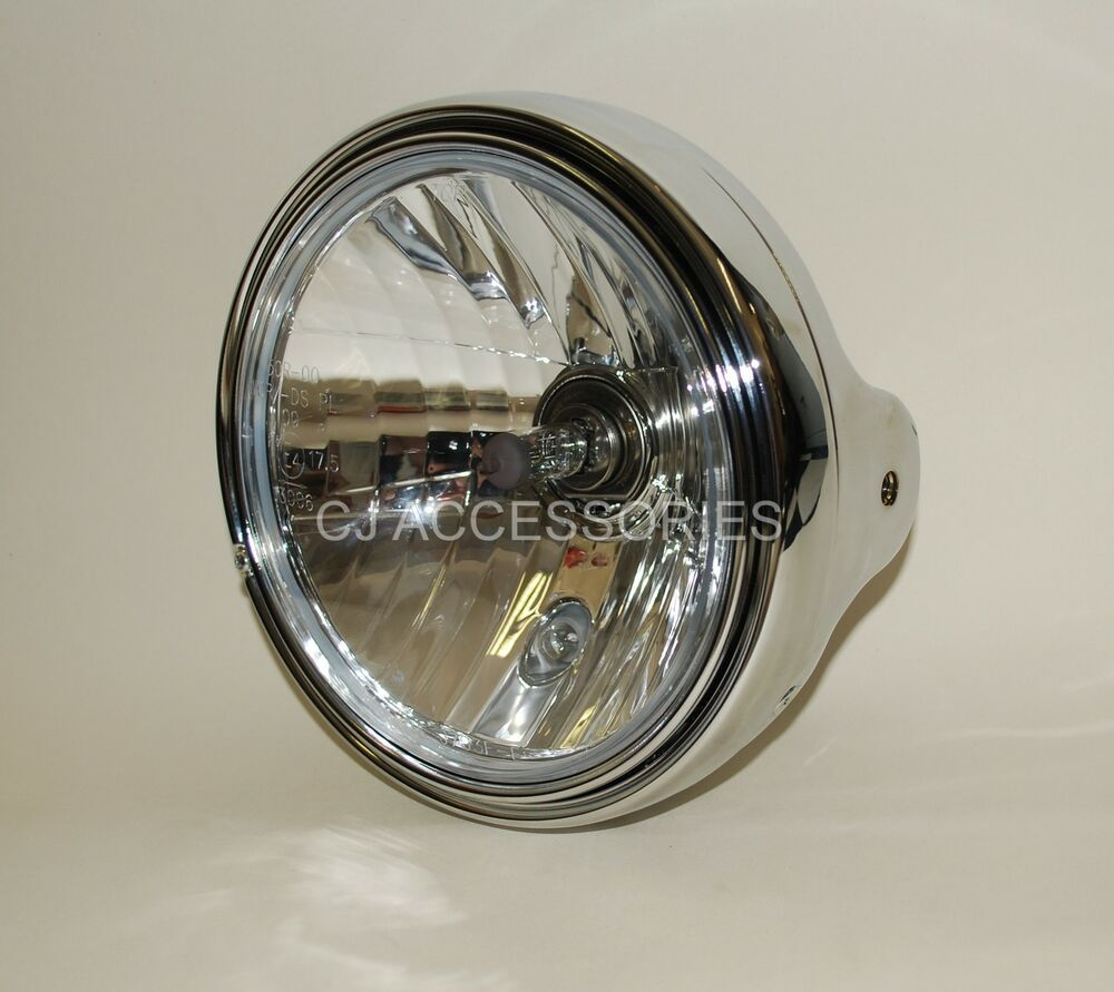 Cafe Racer Headlight Assembly : Universal chrome quot motorcycle headlight e marked