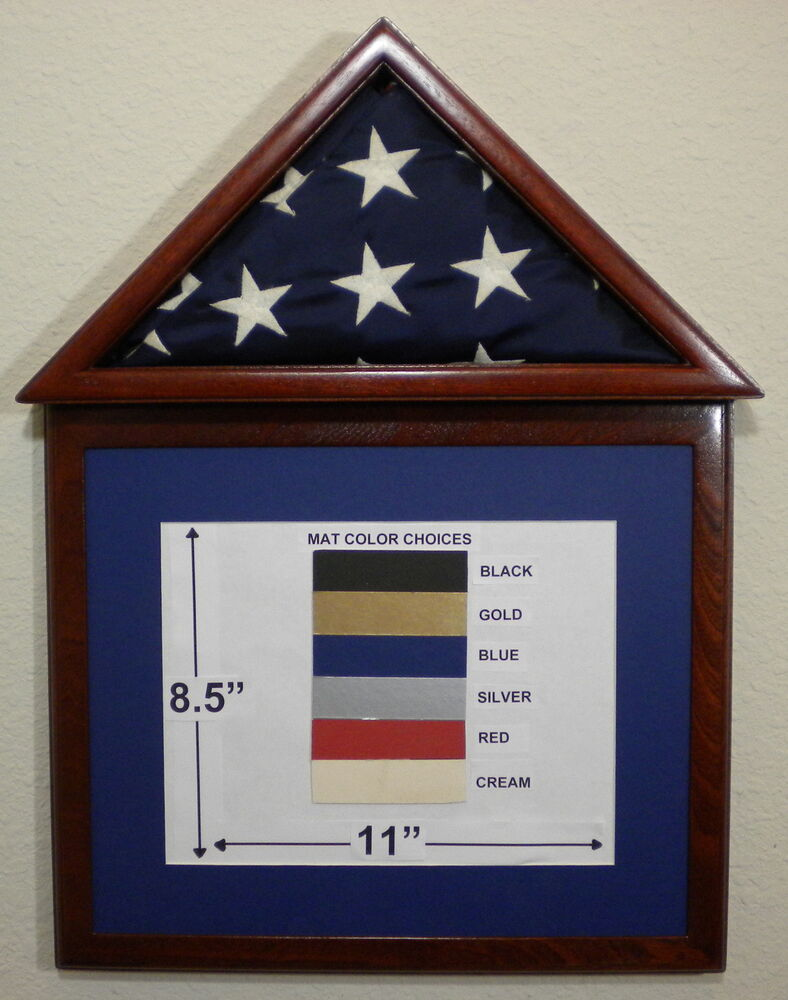 3 X 5 Mahogany Matboard Flag Display Case Frame Capital