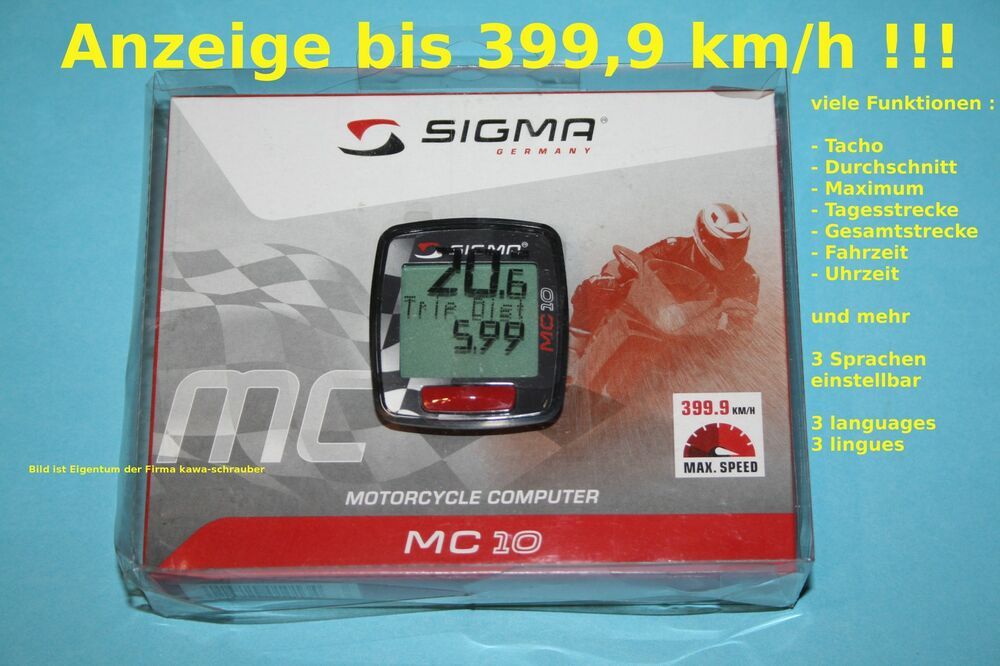 sigma universal digital tachometer tacho 399km h motorrad. Black Bedroom Furniture Sets. Home Design Ideas