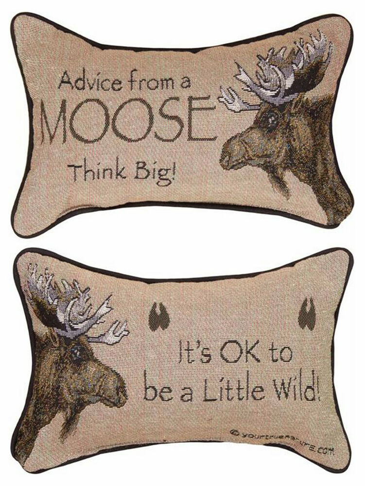 Decorative Moose Pillows : DECORATIVE PILLOWS - ADVICE FROM A MOOSE REVERSIBLE PILLOW - LODGE DECOR eBay