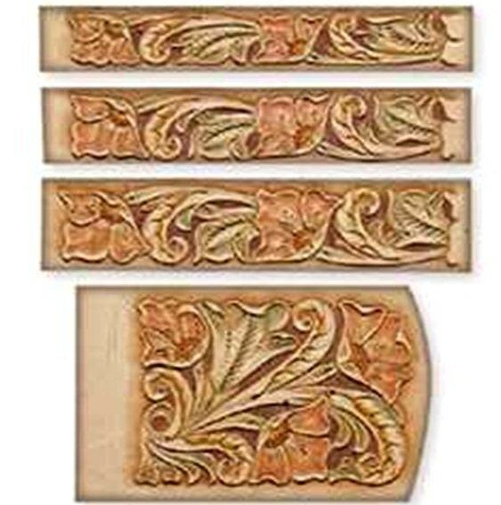 Floral key case belt craftaid tandy carving