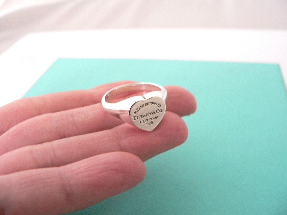 tiffany co return to tiffany silver signet heart tag ring band sz ebay. Black Bedroom Furniture Sets. Home Design Ideas