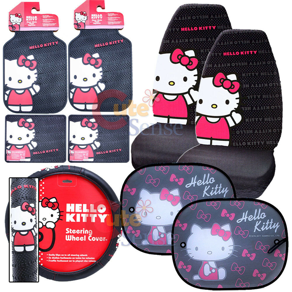 hello kitty core car seat covers accessories compleate 10pc w rare sunshade ebay. Black Bedroom Furniture Sets. Home Design Ideas