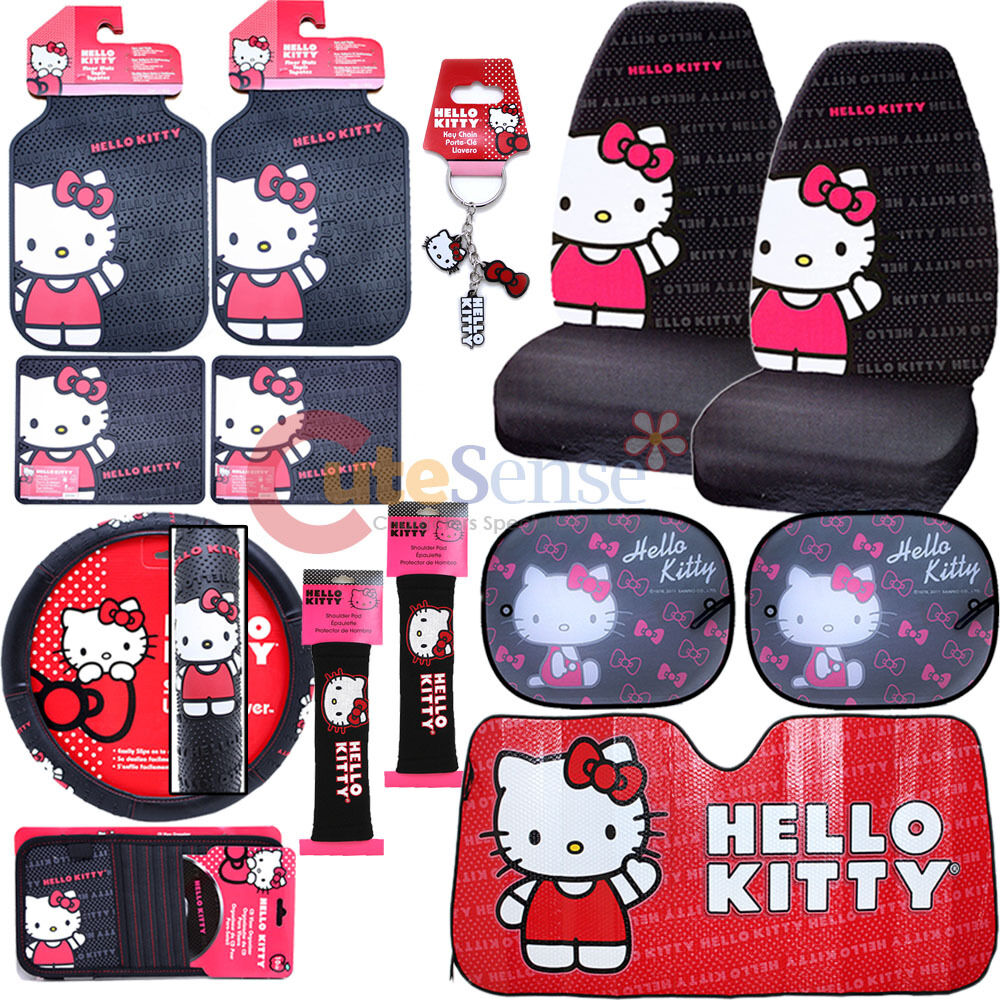 hello kitty core car seat covers accessories 14pc set w full sunshade belt cover ebay. Black Bedroom Furniture Sets. Home Design Ideas
