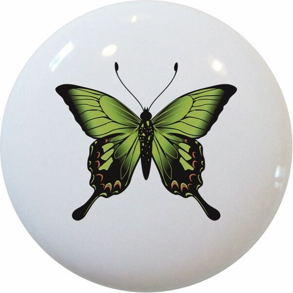Bright Green Butterfly Butterflies Cabinet Drawer Pull