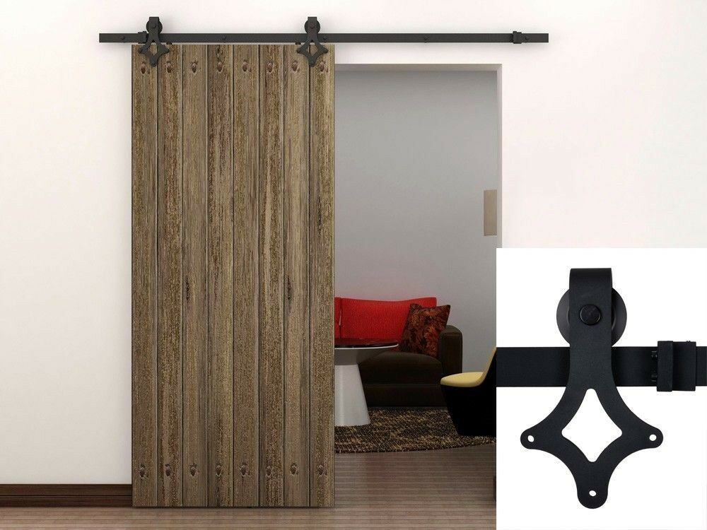 FT Black American Country Style Barn Wood Sliding Door Hardware