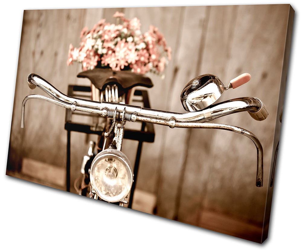 Vintage retro antique bicycle single canvas wall art for Retro wall art