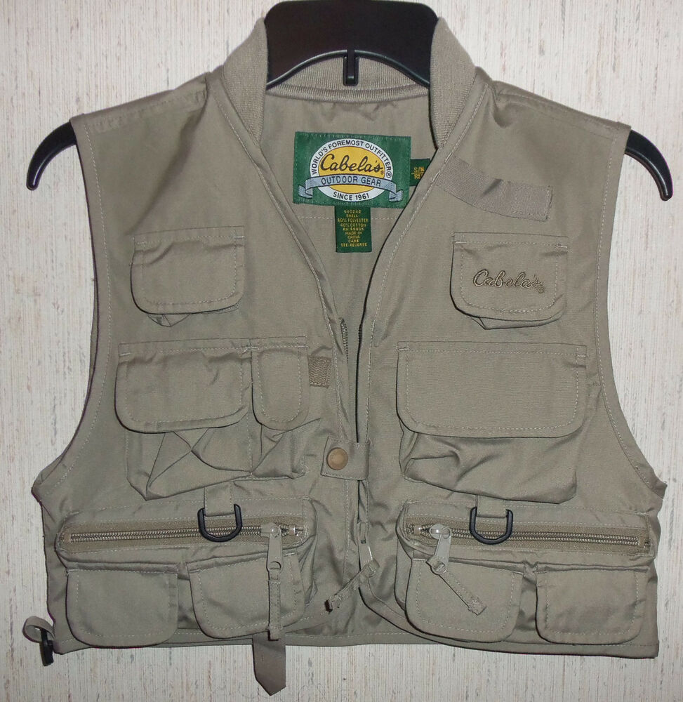 New cabela 39 s beige front zip camping hiking fishing guide for Cabelas fishing vest