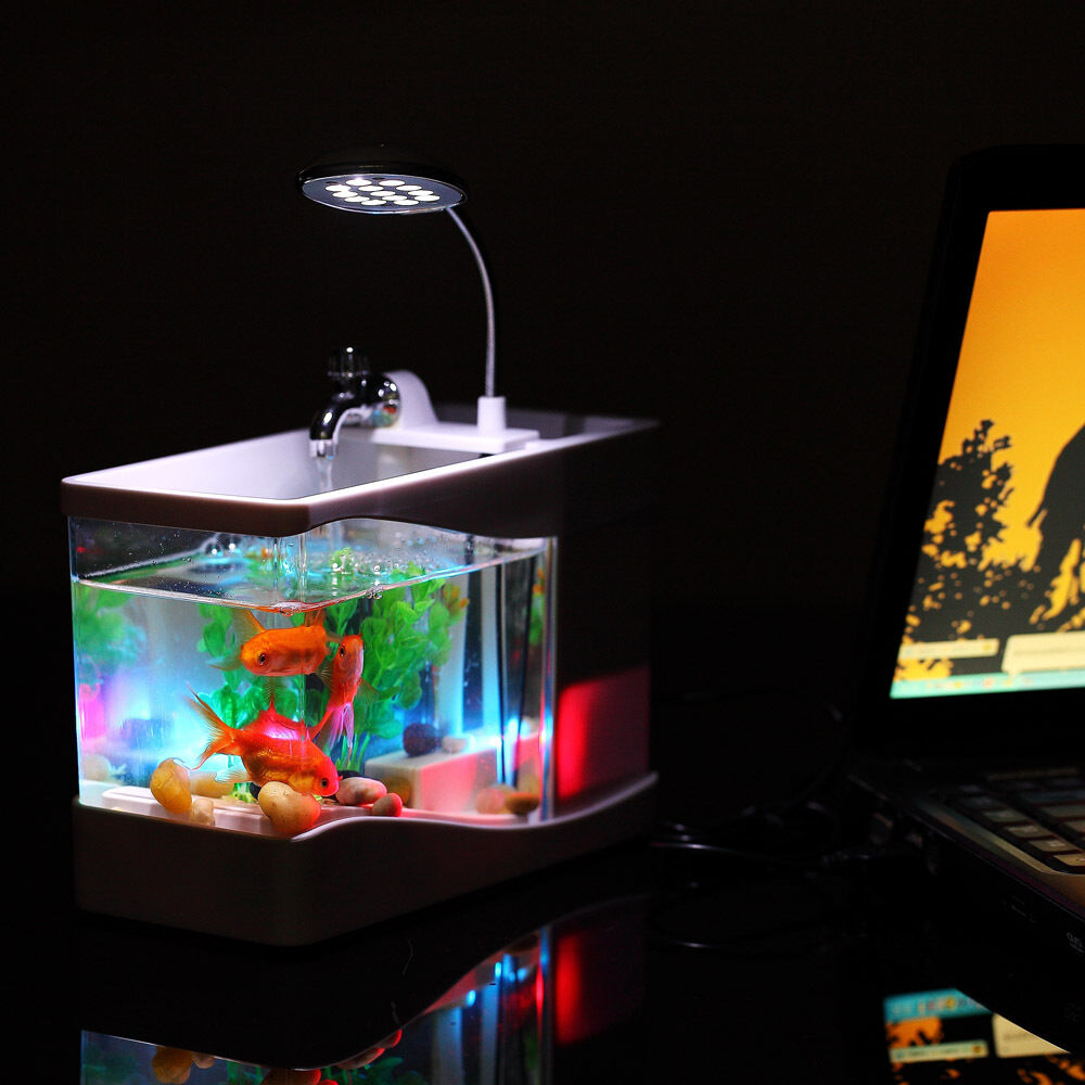 Mini fish tank usb desktop lamp light colorful led for New fish tank