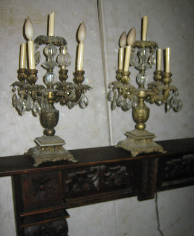 Two Antique Victorian Mantel Crystal Prism Candlelabra